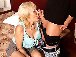 The old prostitute is picked up by the young man and given a good pussy pounding